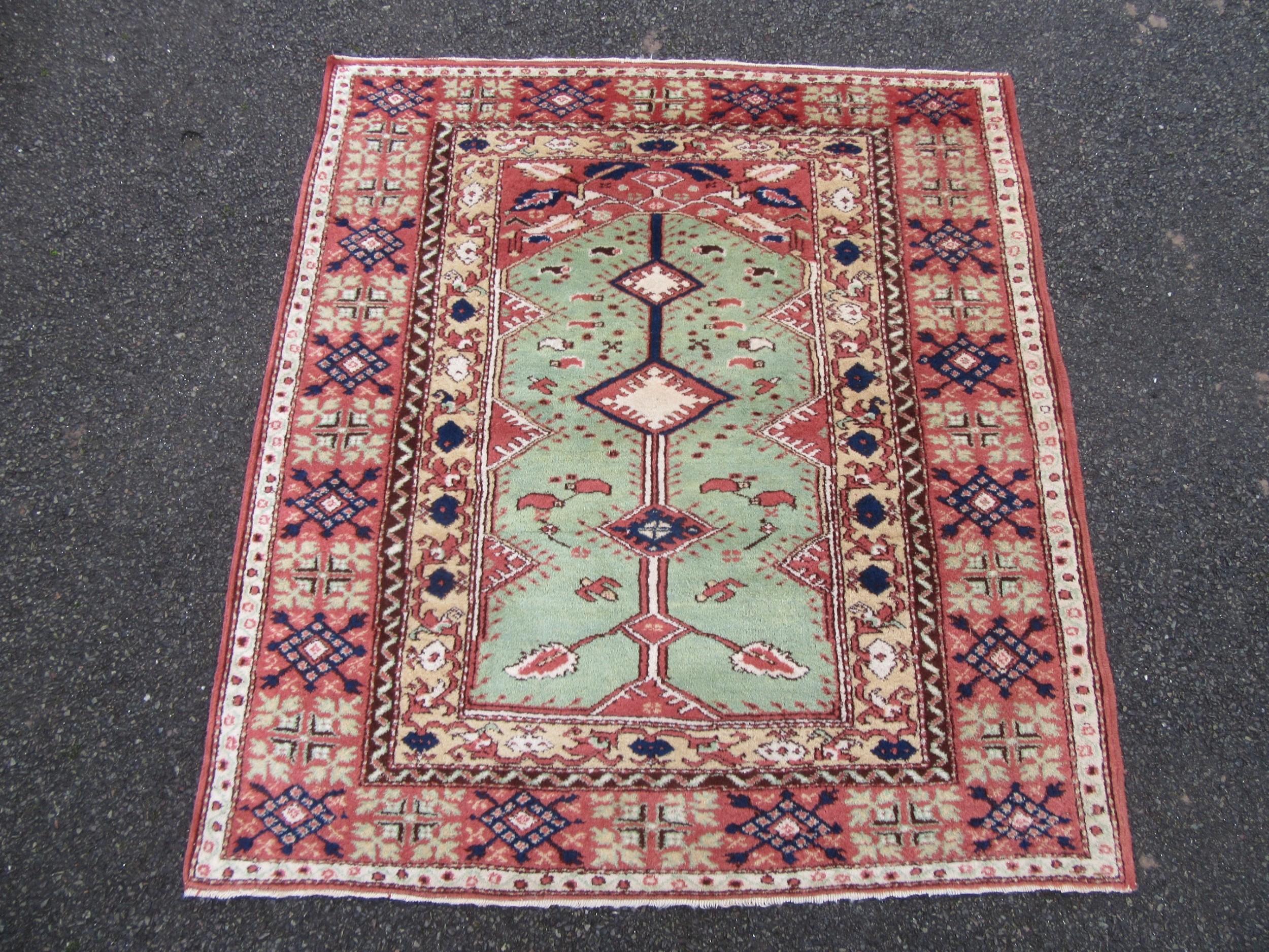 old unusual turkish prayer rug wide bordered