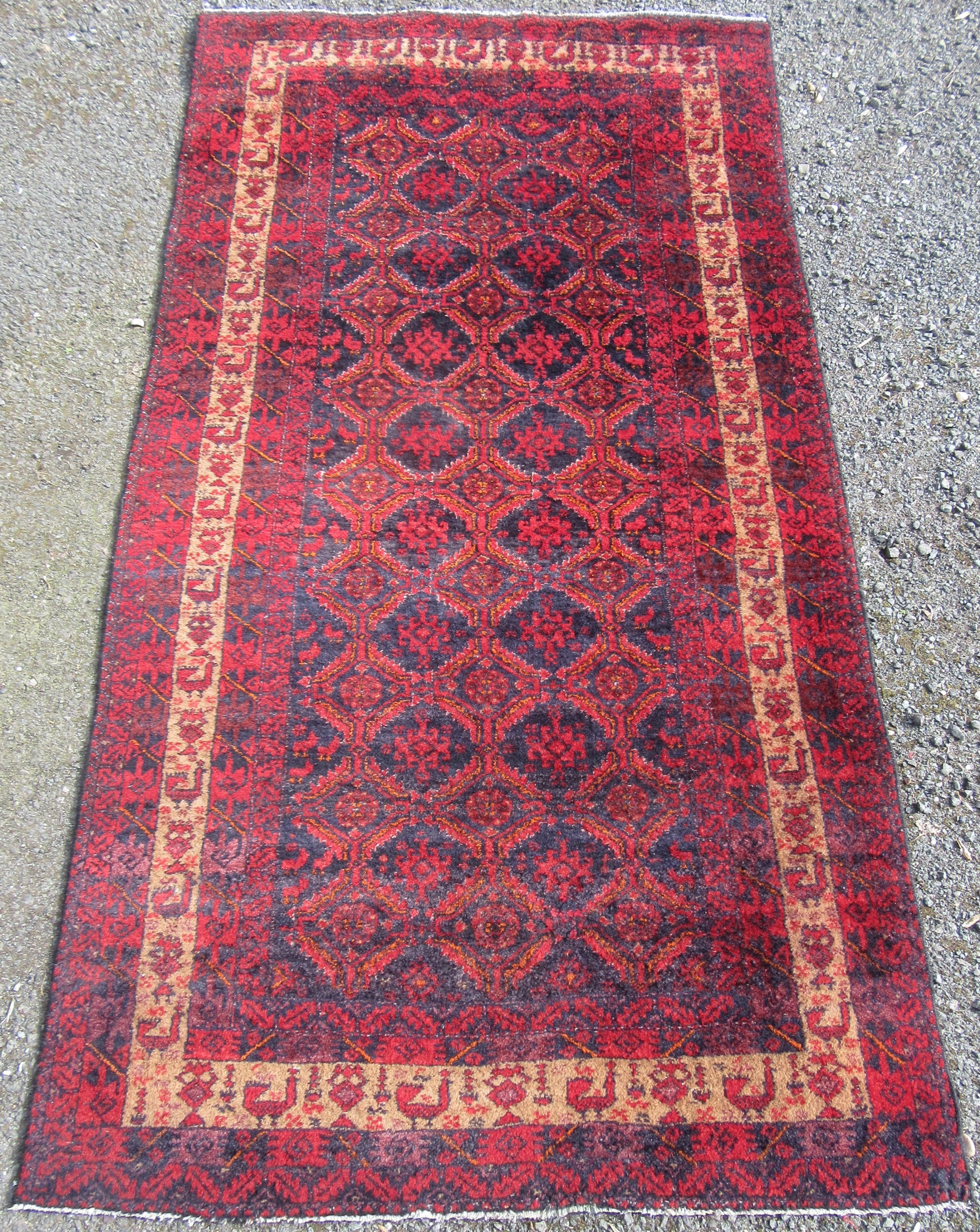 antique persian baluch tribal rug peacock border bird motifs 193cm x 104cm