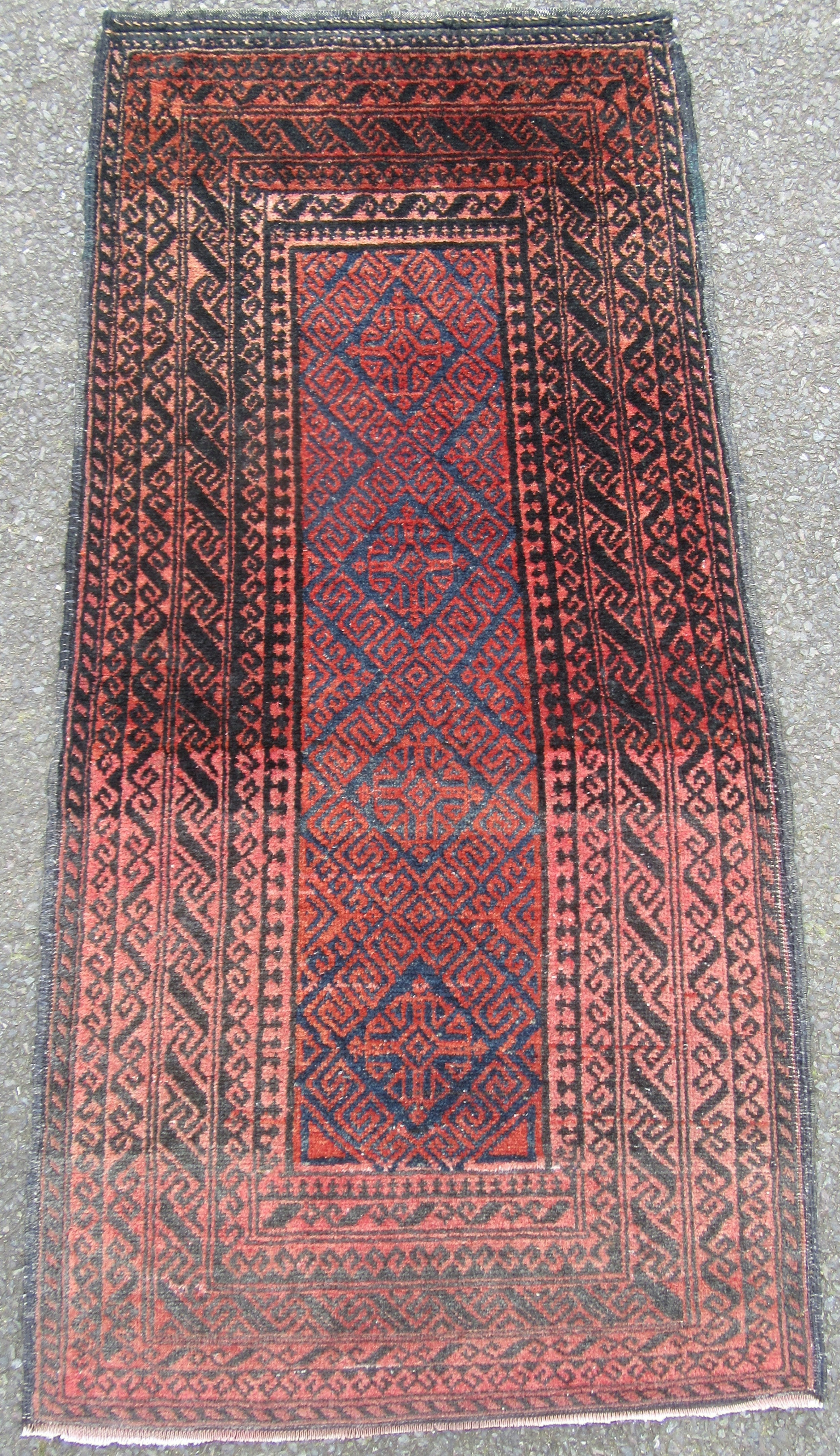 small antique persian baluch rug abrash banded
