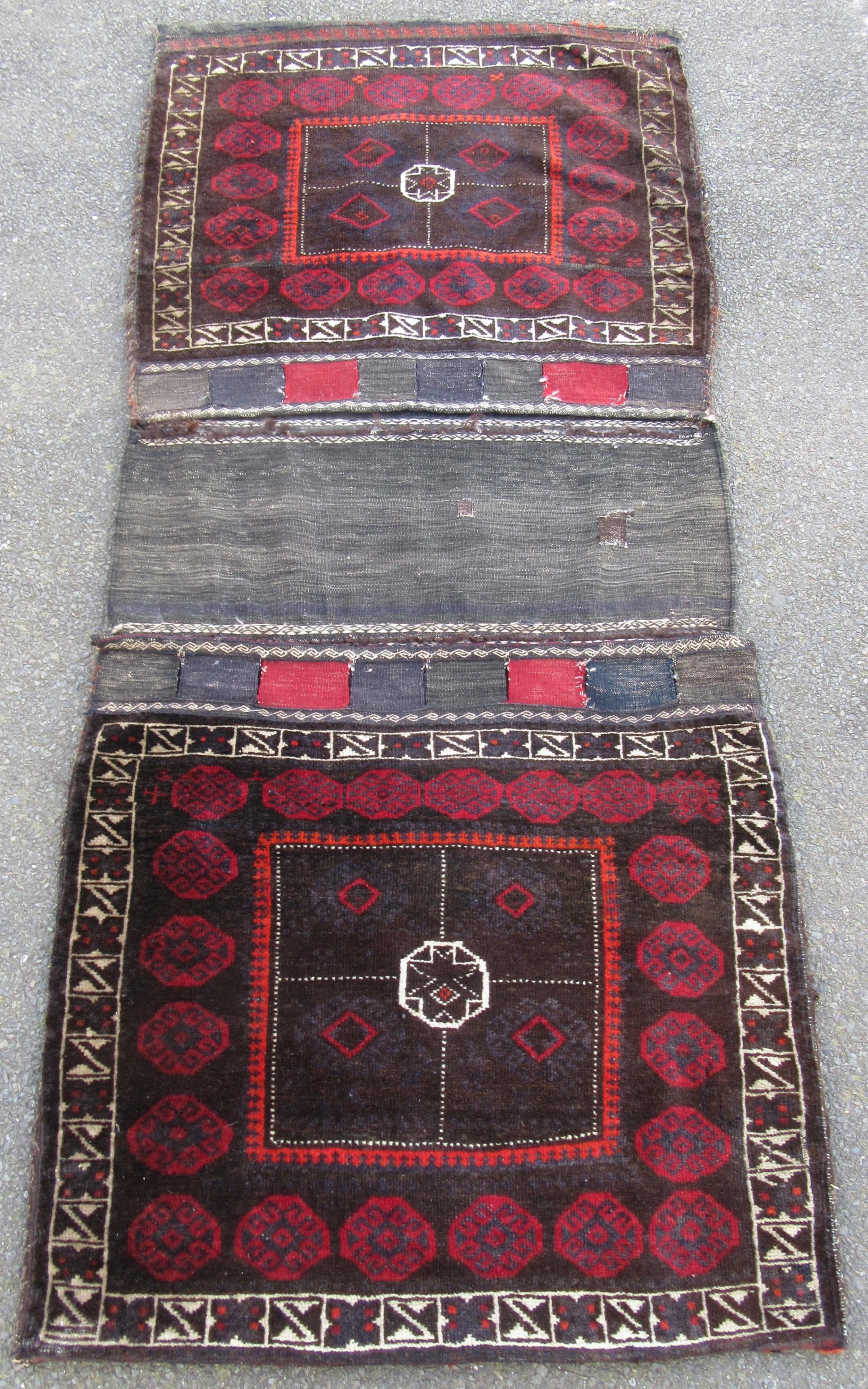 very large antique persian baluch khorjin saddlebag