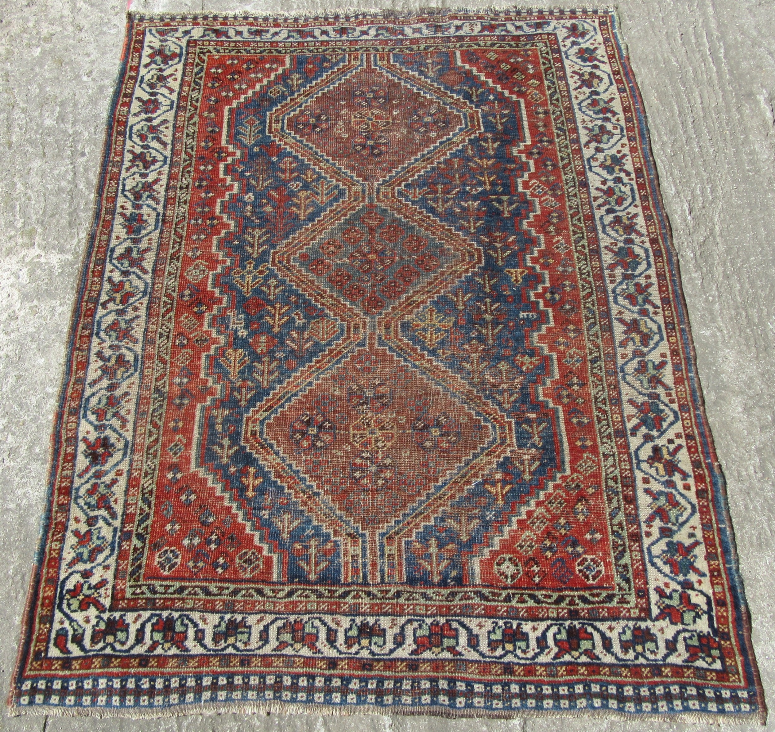antique country house shabby chic persian khamseh rug lone animal figure in mid blue ground