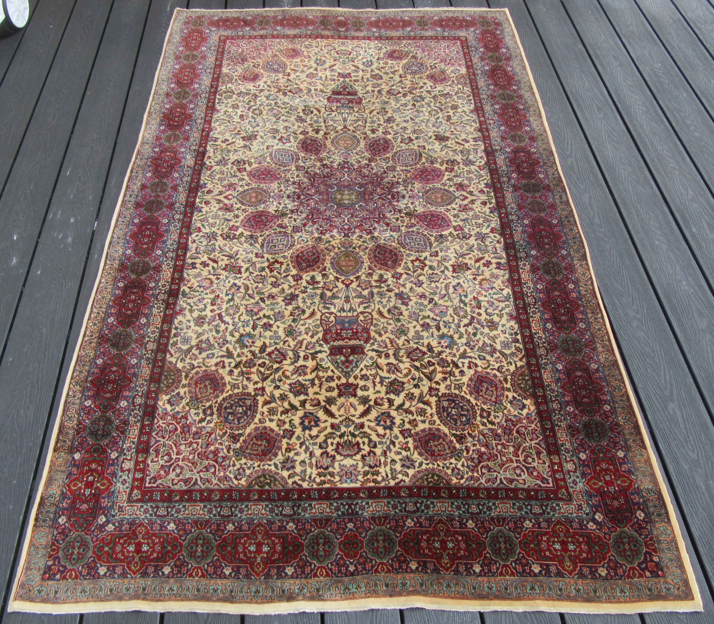 very very fine antique indo persian indian rug of ardabil design very fine kurk wool pile