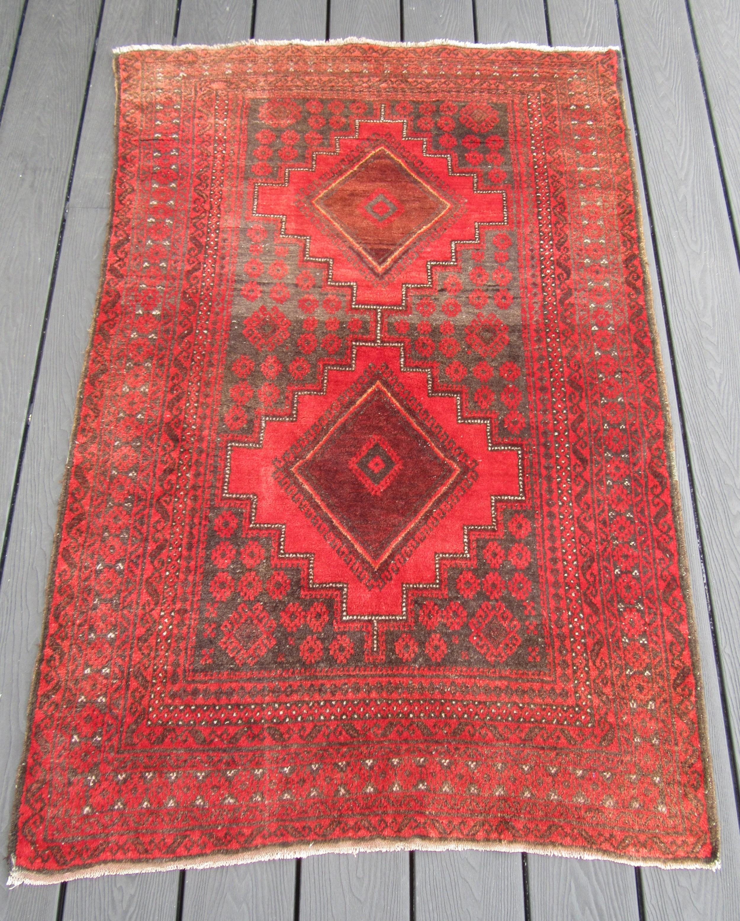 antique ersari afghan village rug great abrashed field 147cm x 97cm