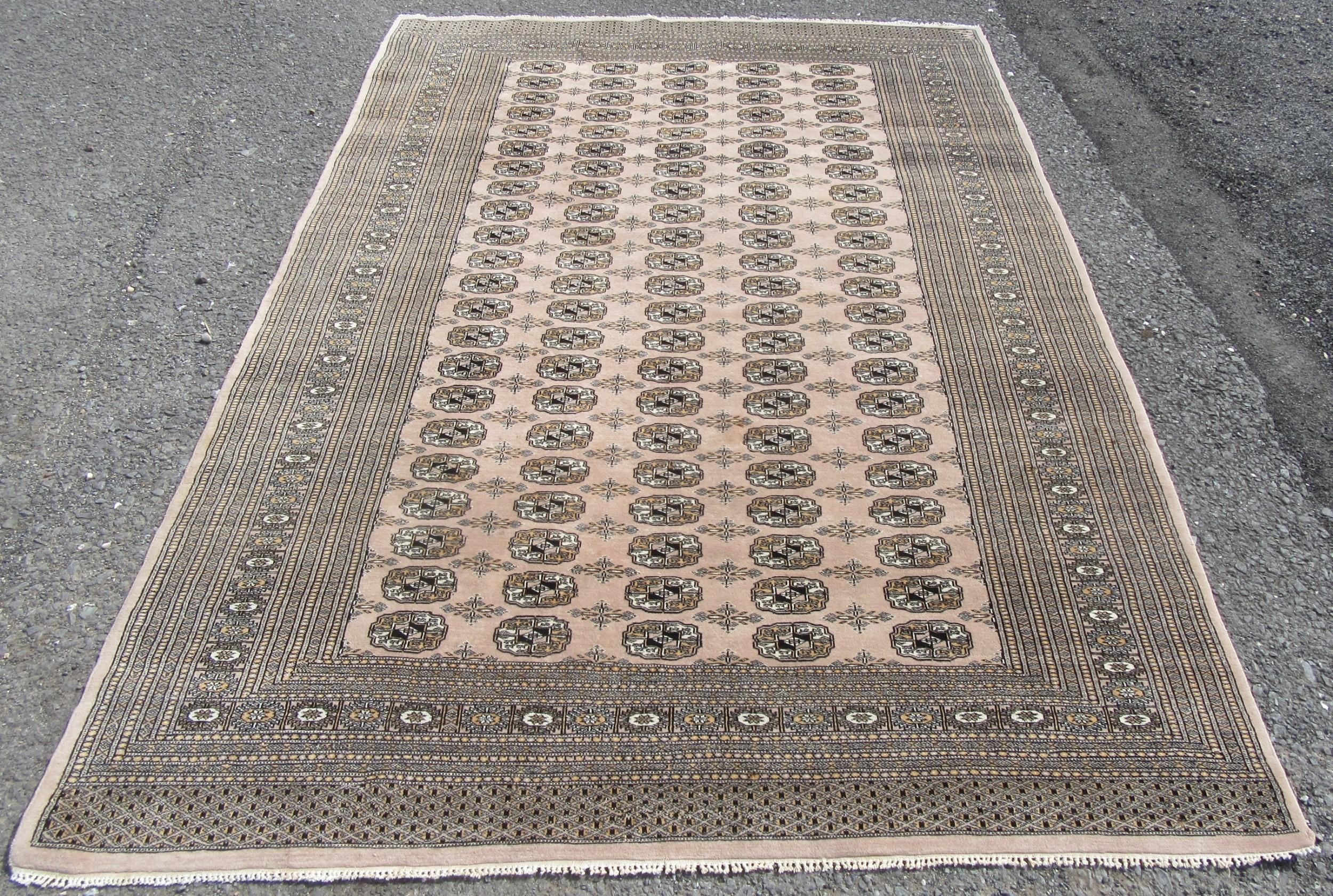 large attractive vintage indian woollen carpet rug 269cm x 190cm