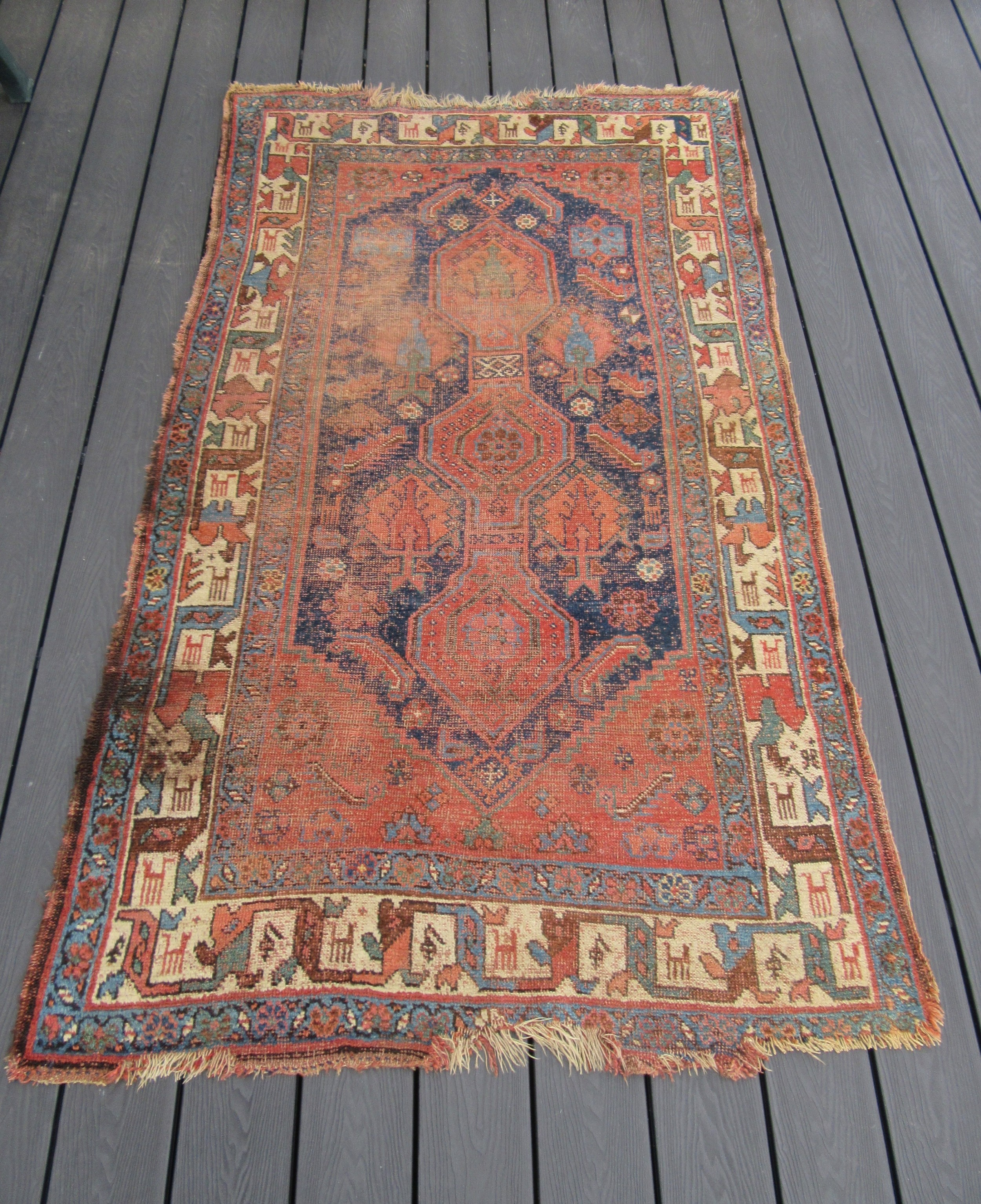 a very antique country house shabby chic north west persian kurdish rug carpet unusual animal border design