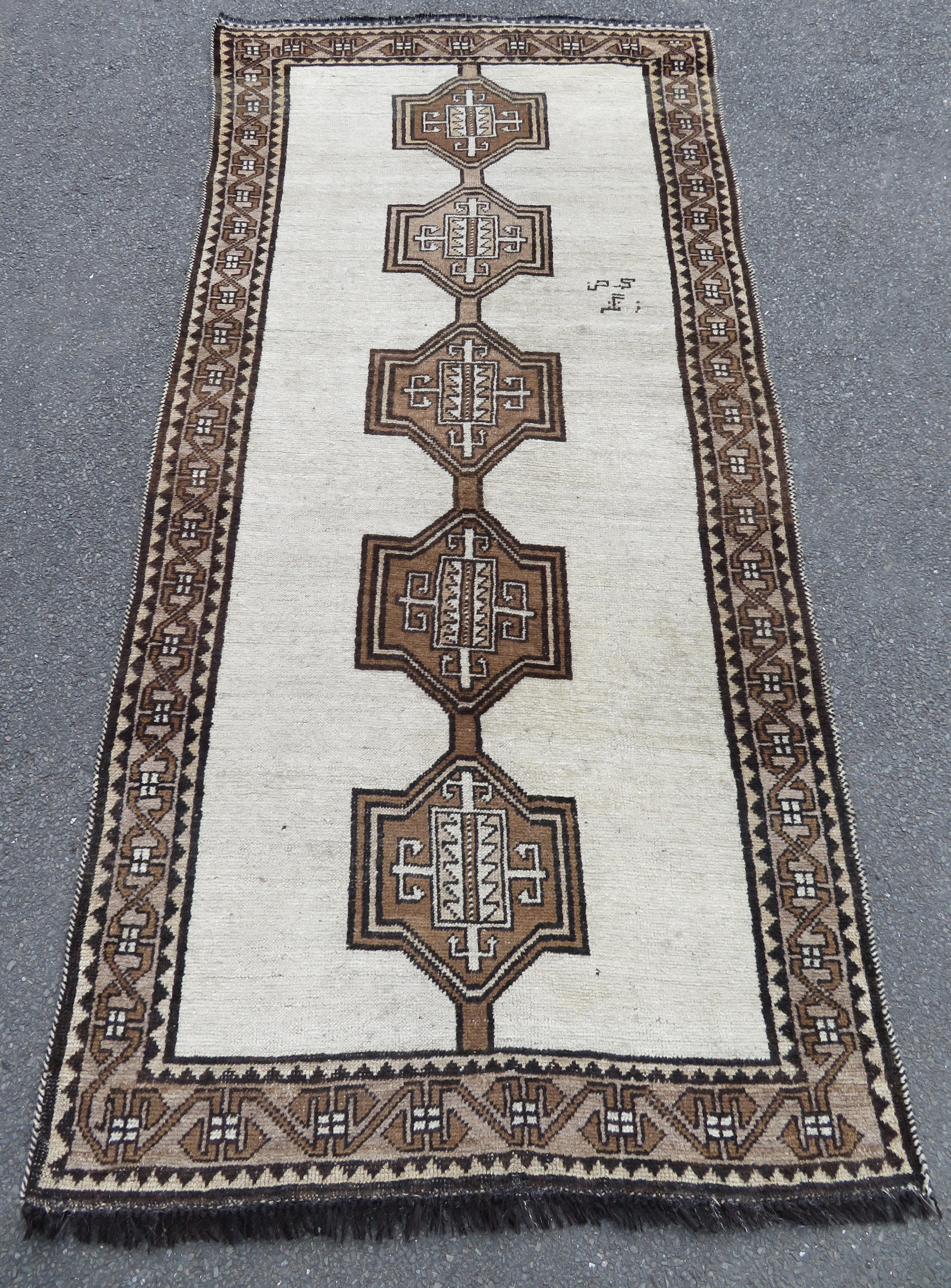 charmingly simplistic antique south west persian gabbeh long rug signed in farsi