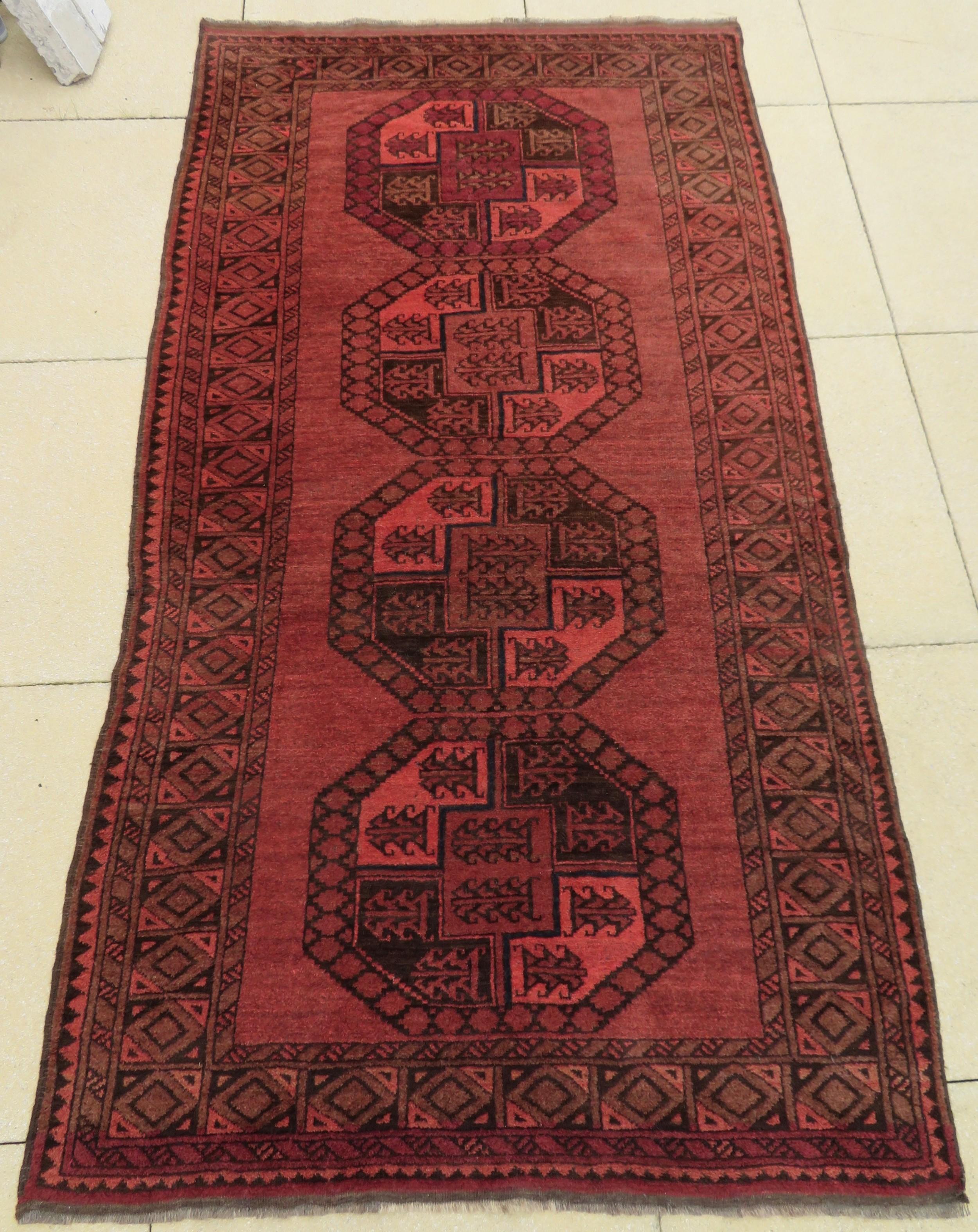 antique afghan ersari long rug carpet rich warm walnut colours
