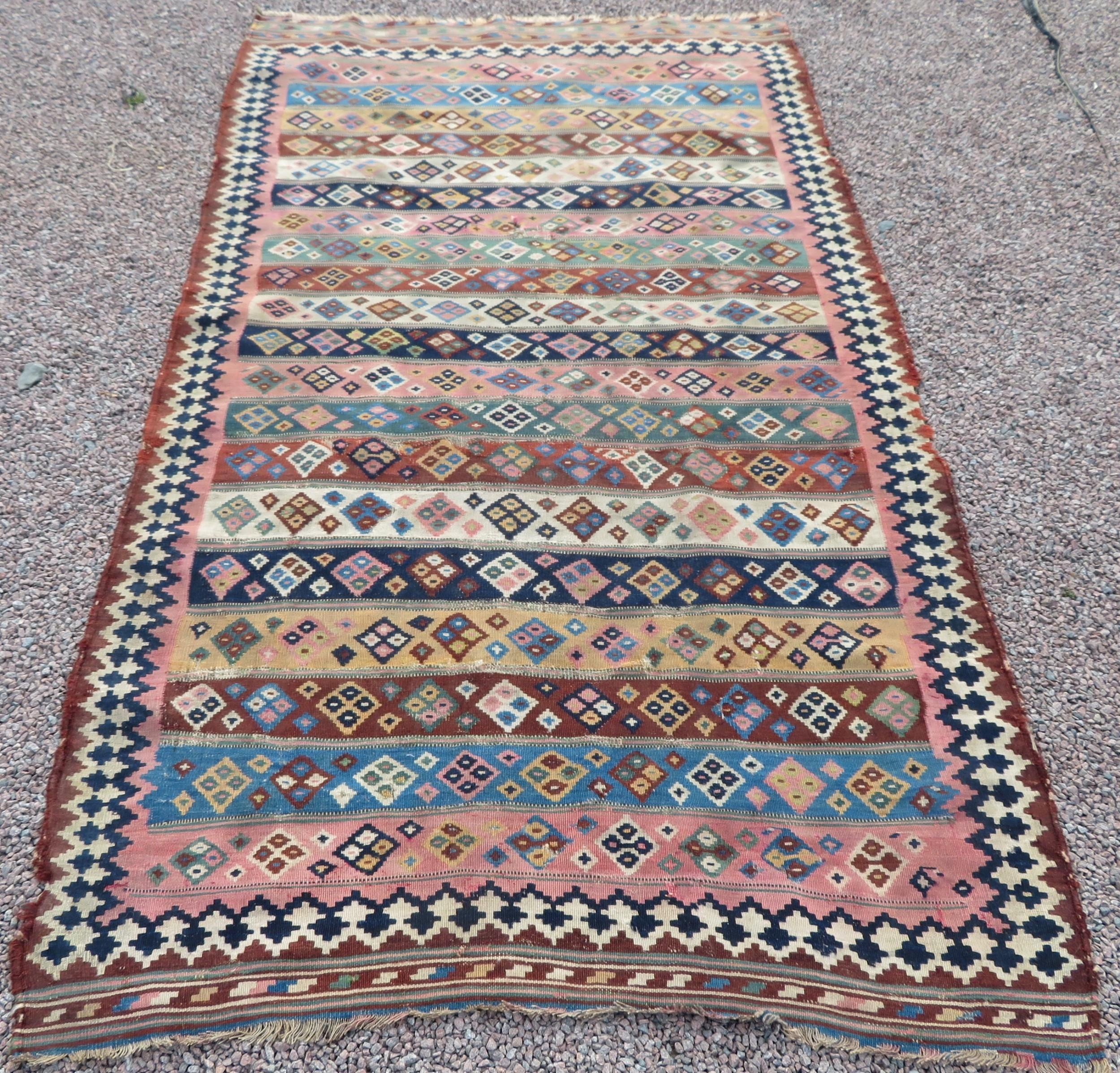 antique country house shabby chic qashqai flat weave kilim kelim rug 264cm x 170cm distressed