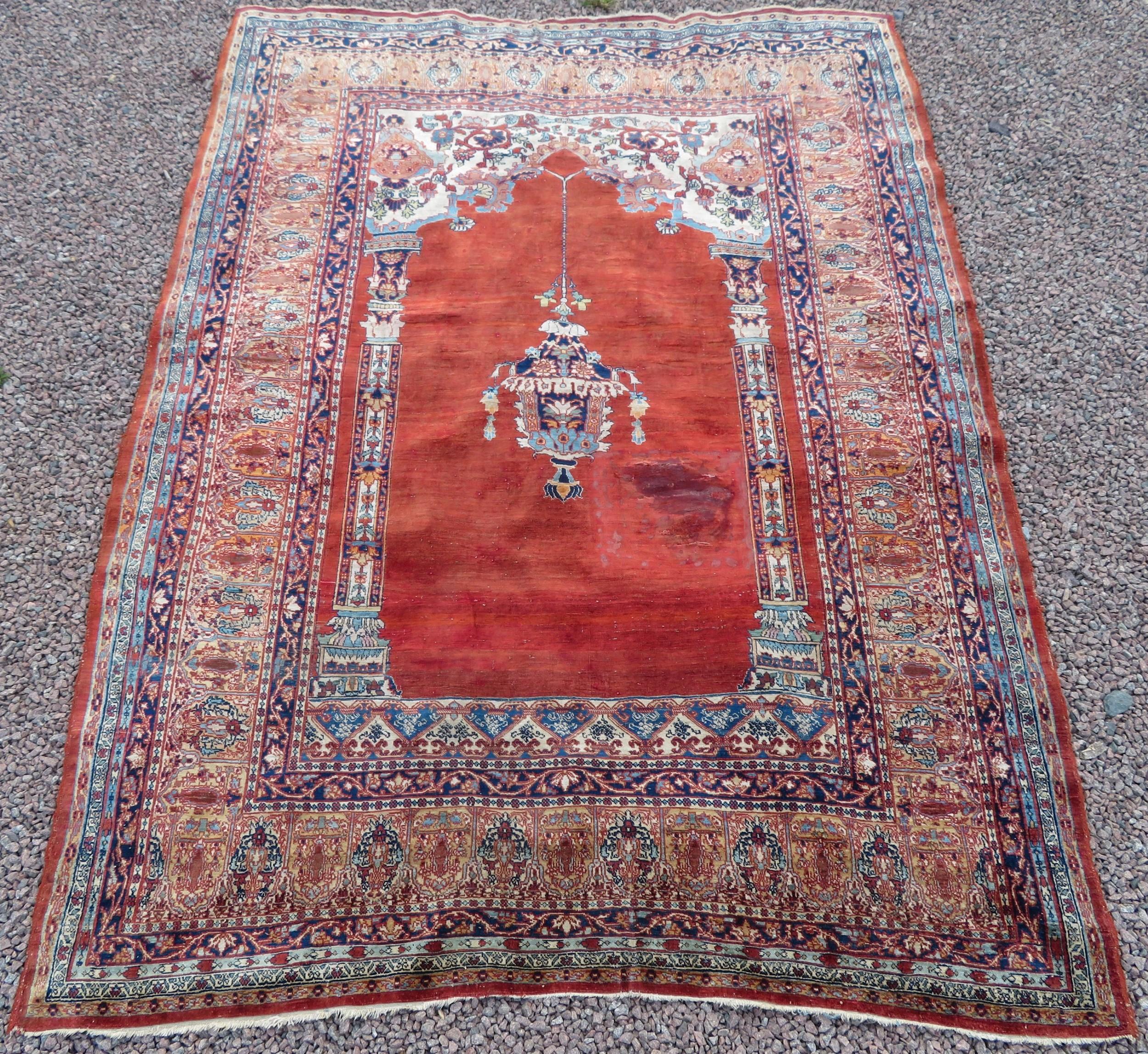 distressed antique silk tabriz prayer rug third quarter 19th century