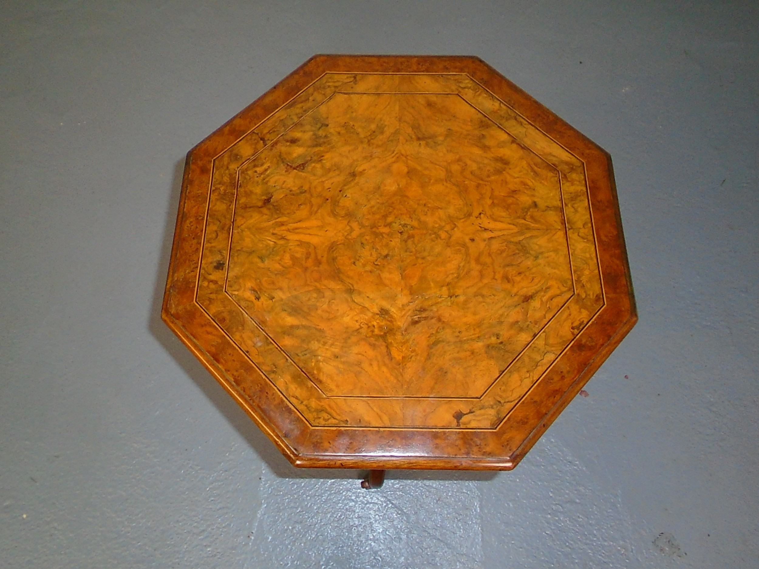 victorian octagonal figured walnut occasional table