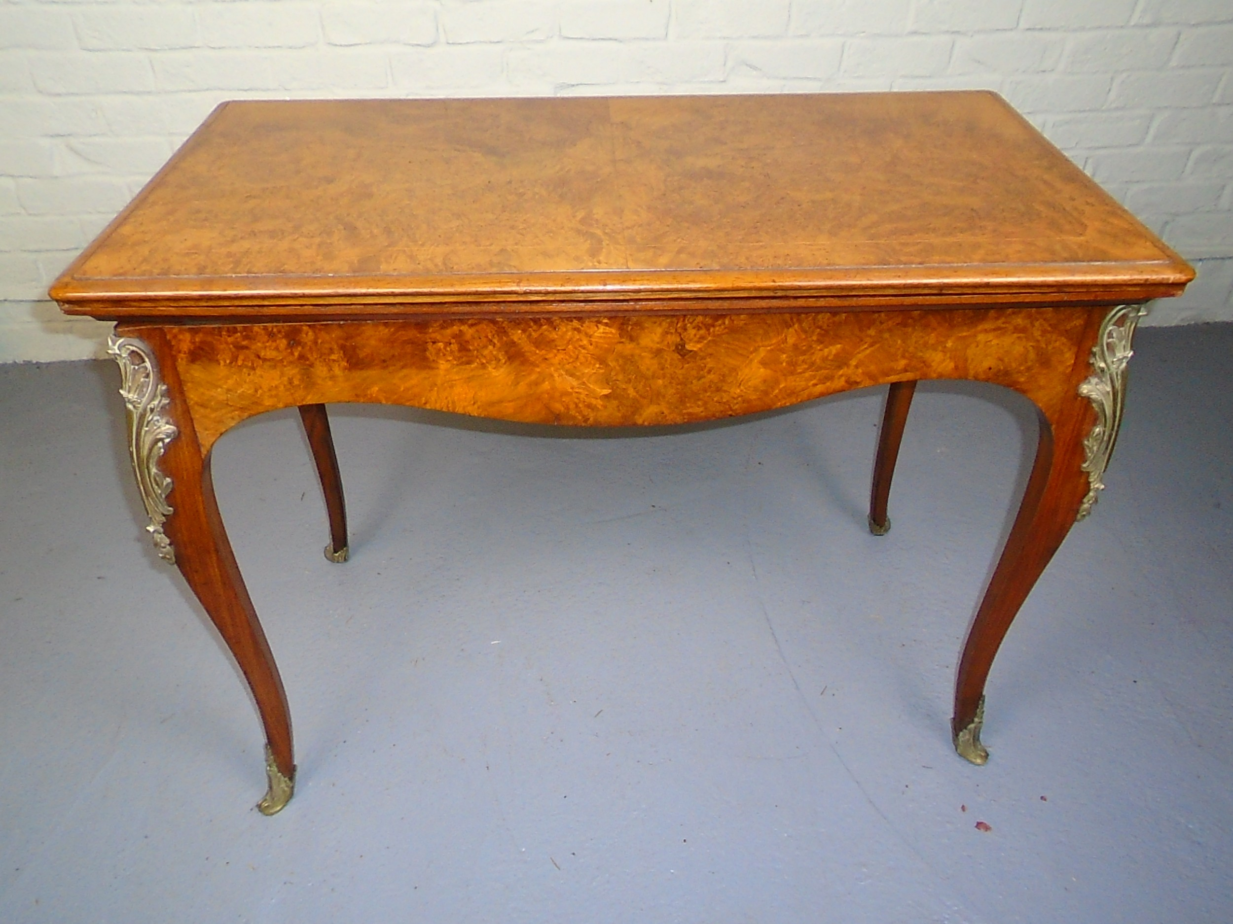 late 19th century french walnut card table
