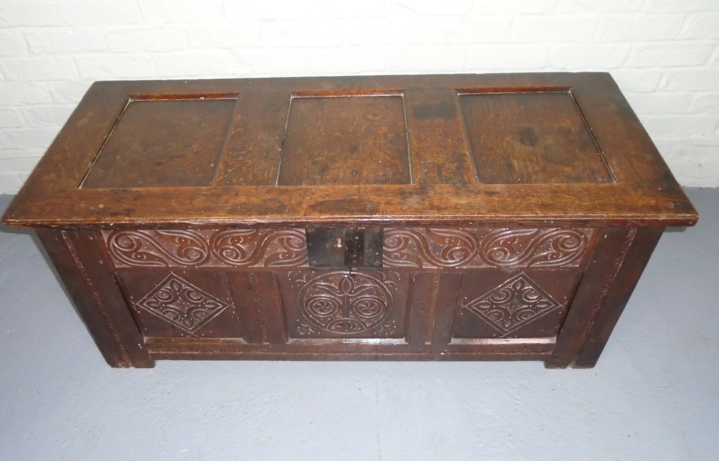 late 17th century oak panelled coffer
