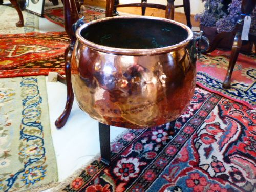19th century copper pot on iron stand