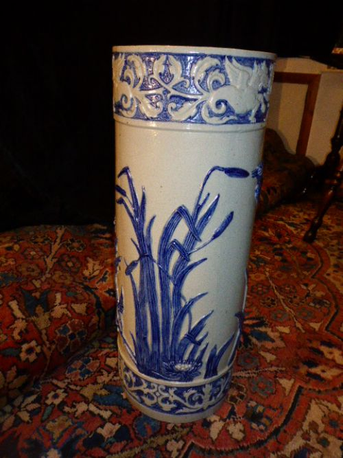 19th c elegant french blue and white stoneware stick stand