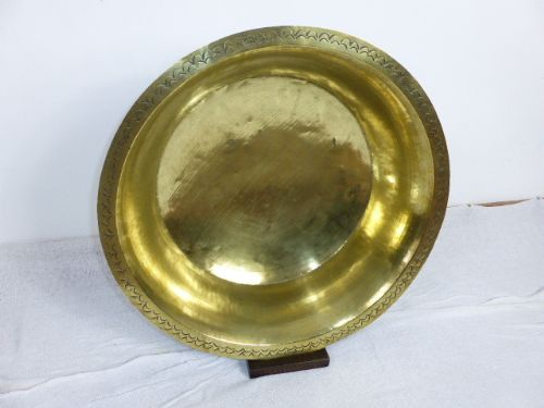 19th century large brass cream bowl with display stand