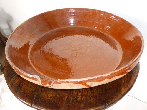 large 19th c french slipware terracotta dish