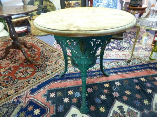 victorian cast iron pub table with wooden top c1896