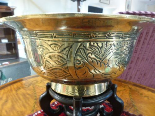 large and heavy chinese brass bowl