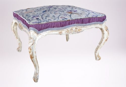 stylish 19th century french upholstered hand painted stool