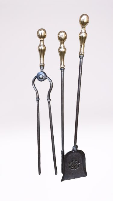 quality set of 19th century steel fire irons