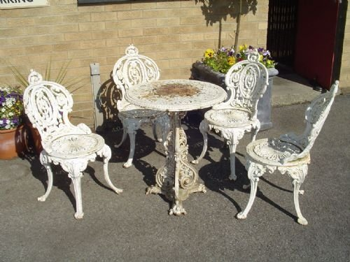 Set Of 4 Victorian Cast Iron Garden Chairs And Table