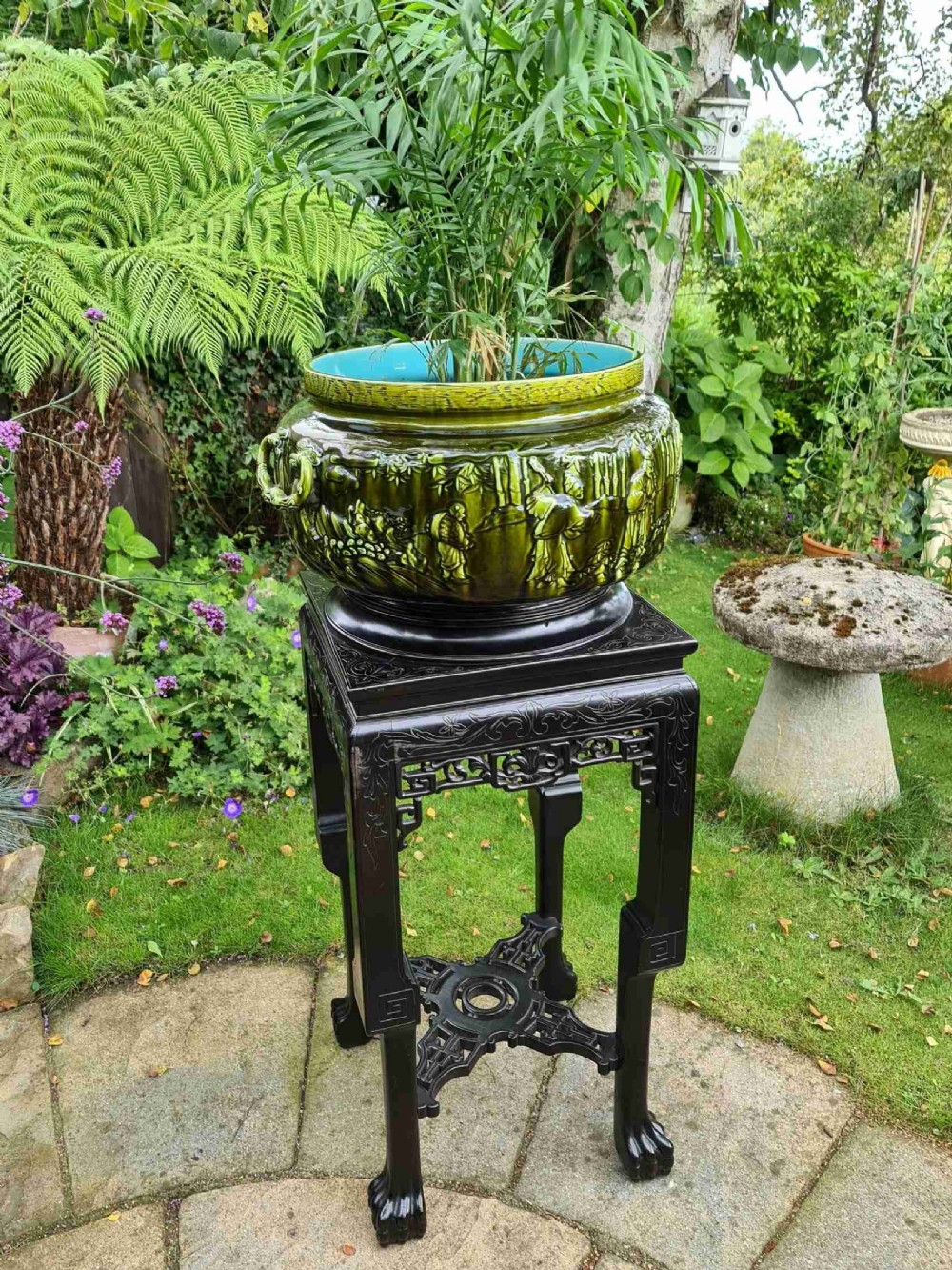 french sarreguemines majolica jardiniere with it's own chinese chippendale hardwood stand