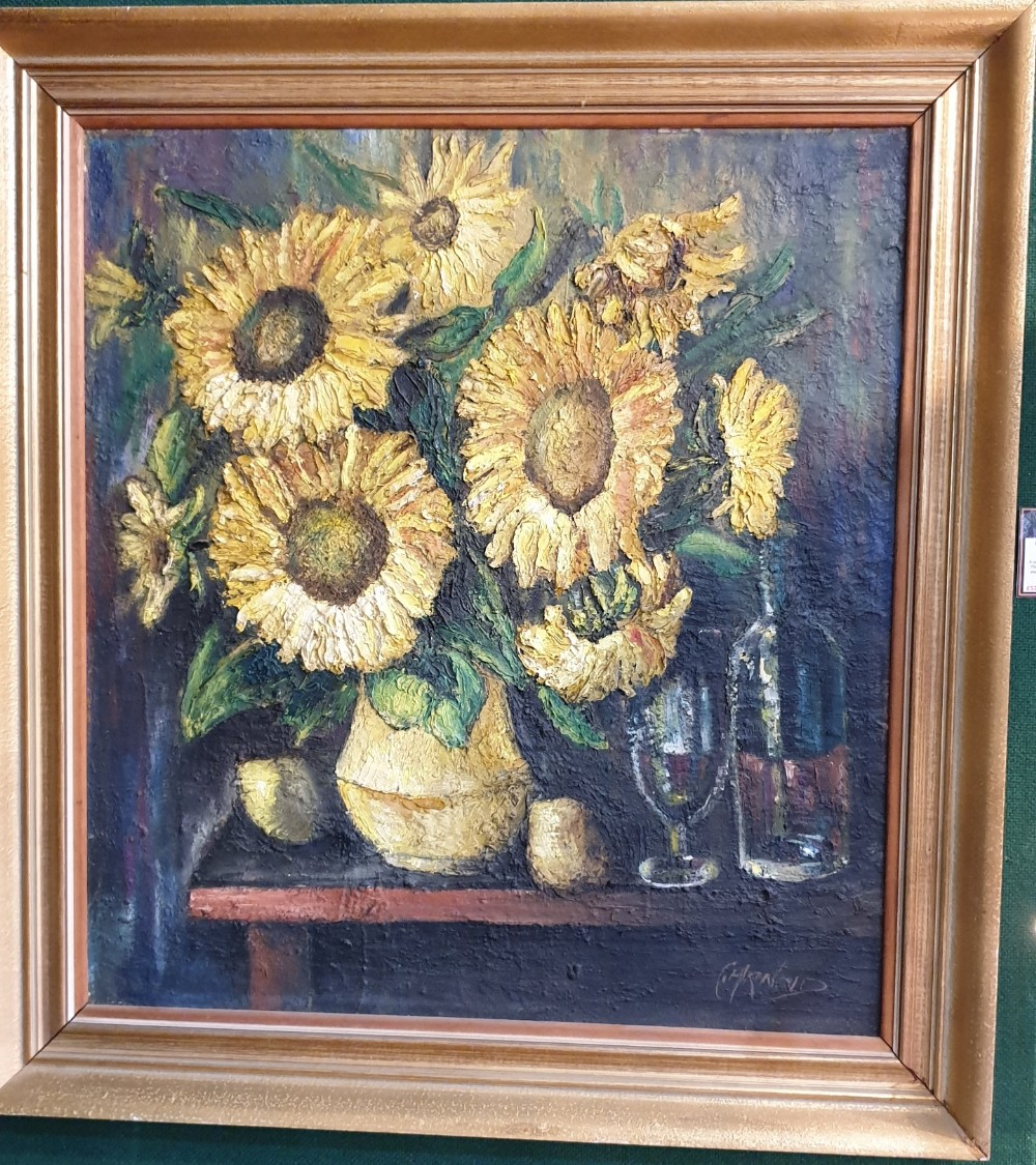 large oil painting still life on canvas signed carnold