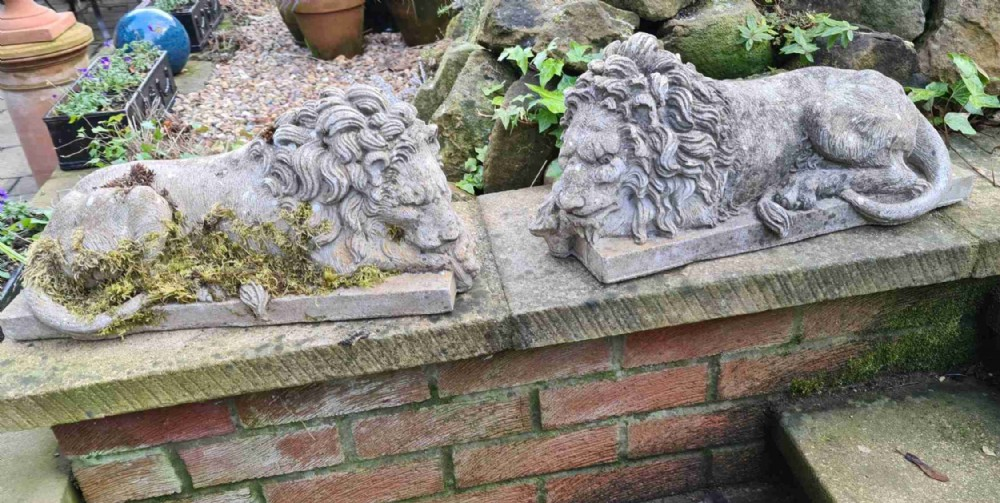 pair of canova lions after st peters rome and chatsworth house