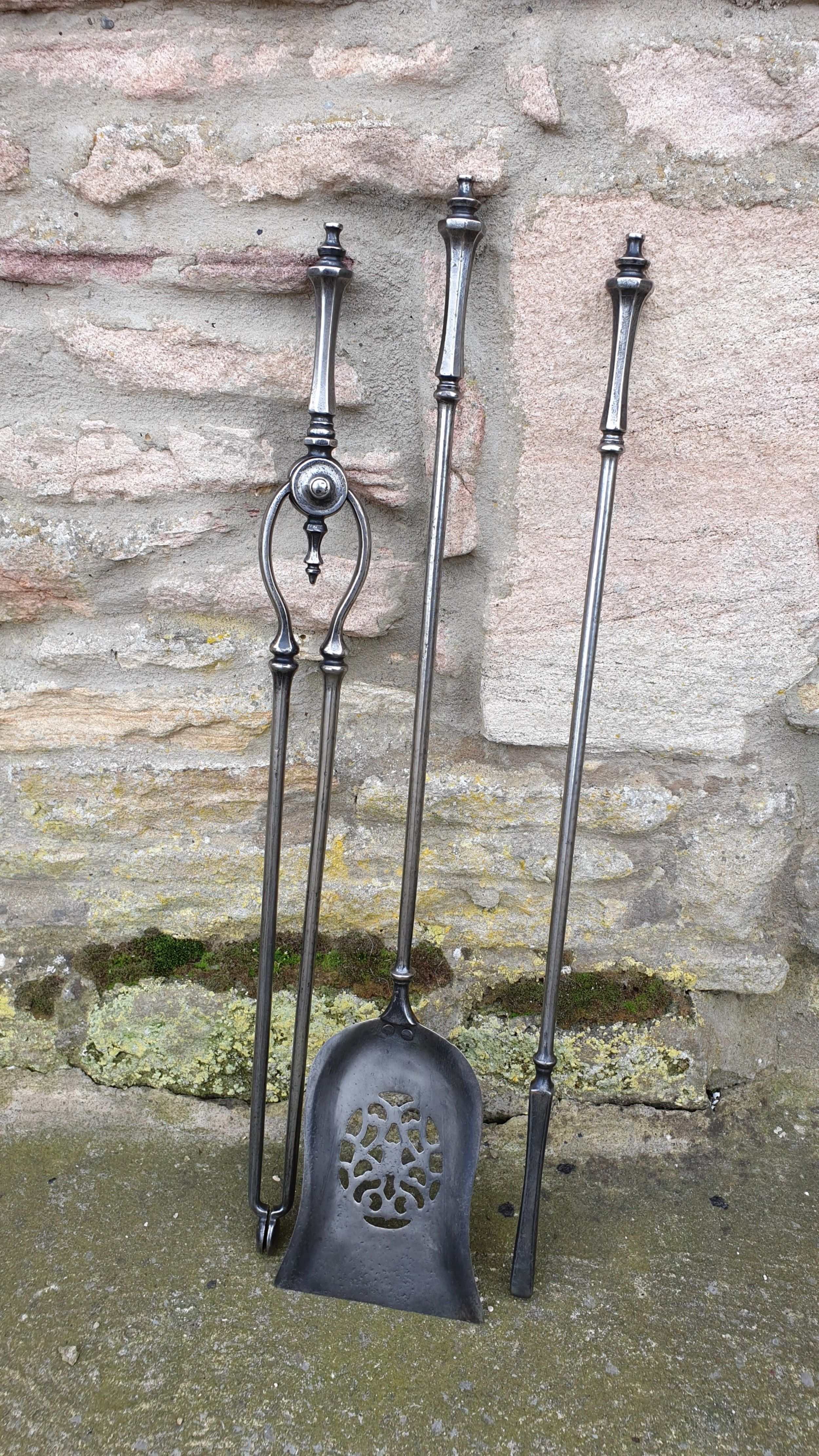 handsome set of 19th century steel fire irons