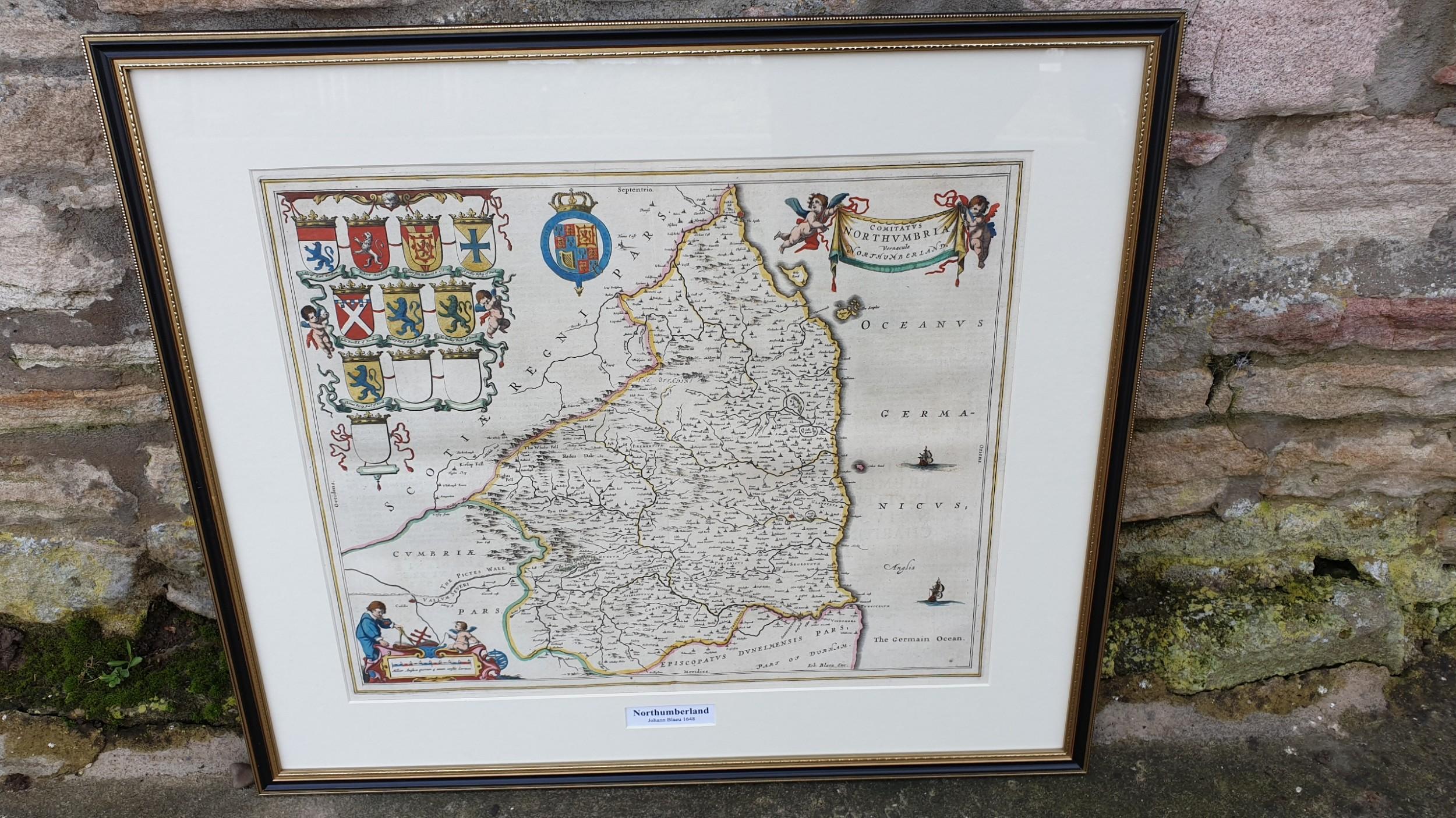 johann blaeu map of northumberland 1648