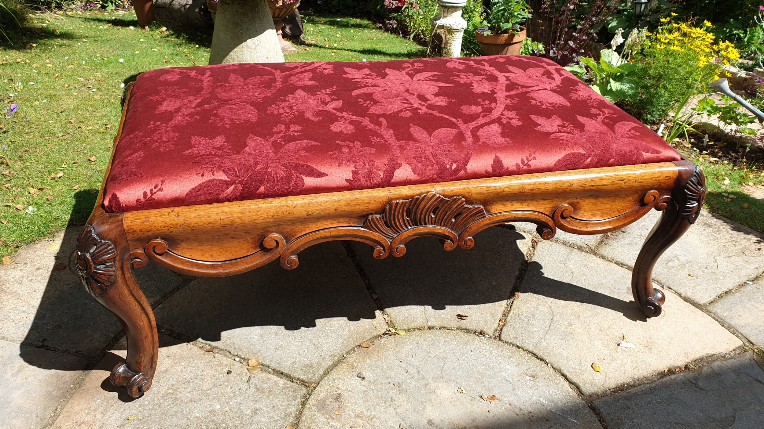 substantial country house victorian walnut stool