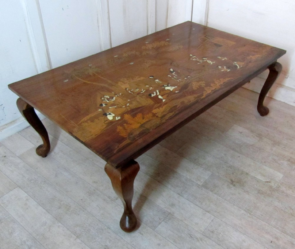 A stunning art deco inlaid coffee table in an indian theme for Indian coffee table