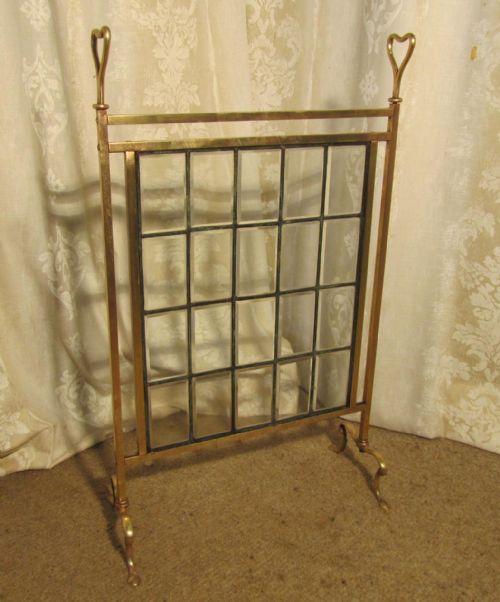 A Victorian Brass And Glass Art Nouveau Fire Screen 217676