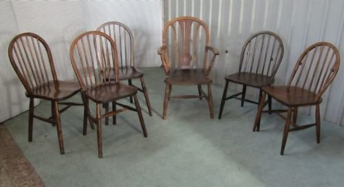set of 6 country farmhouse kitchen chairs