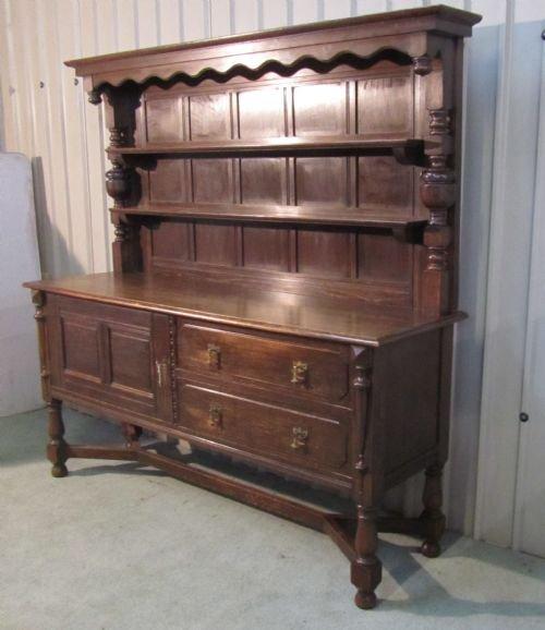Dark Wood Welsh Dresser: Large Gothic Oak Victorian Welsh Dresser