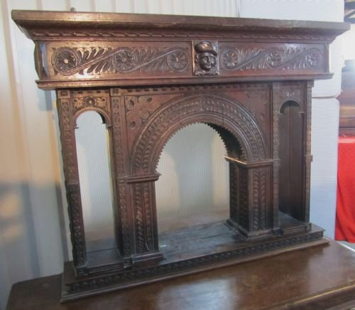 19th c gothic oak carved overmantle alcove mirror