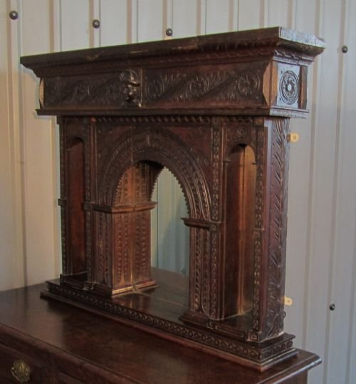 19th c gothic oak carved overmantle alcove mirror - photo angle #2