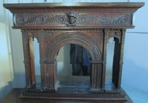 19th c gothic oak carved overmantle alcove mirror - photo angle #3