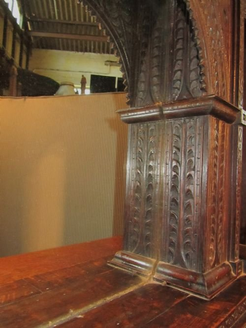 19th c gothic oak carved overmantle alcove mirror - photo angle #4