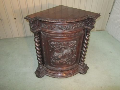 carved gothic oak corner cupboard - photo angle #2
