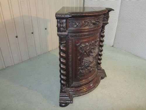 carved gothic oak corner cupboard - photo angle #5