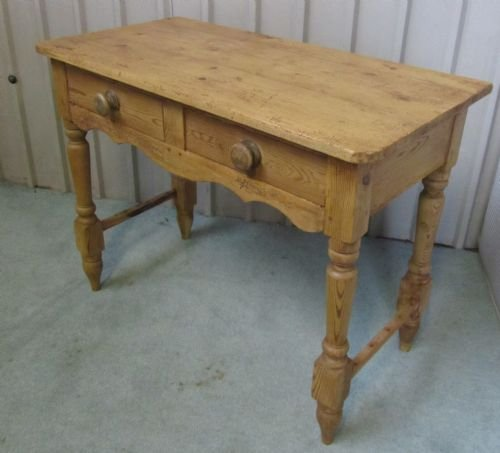 victorian rustic pine writing desk side table wash stand - photo angle #2