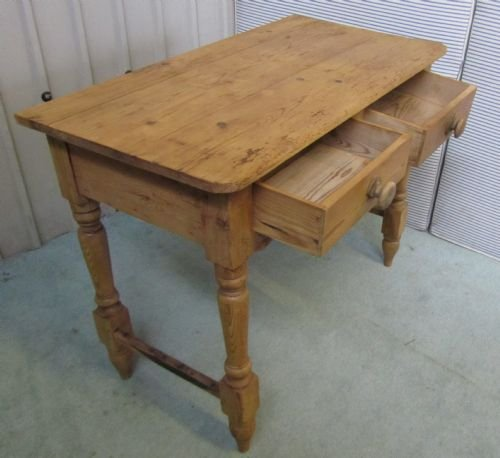victorian rustic pine writing desk side table wash stand - photo angle #3