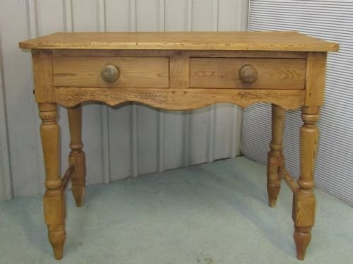 victorian rustic pine writing desk side table wash stand - photo angle #4