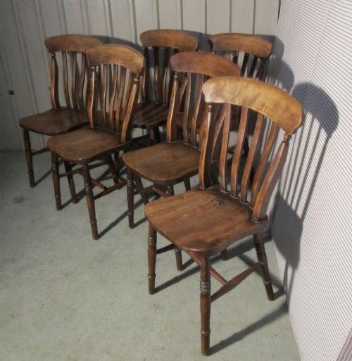 set of 6 victorian slat back farmhouse kitchen chairs 145123