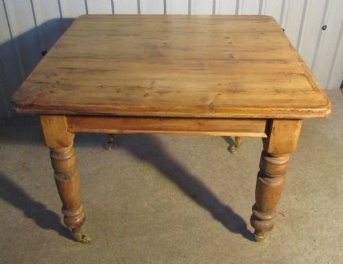 a lovely rustic victorian pine kitchen table - photo angle #2