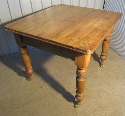 a lovely rustic victorian pine kitchen table - photo angle #3