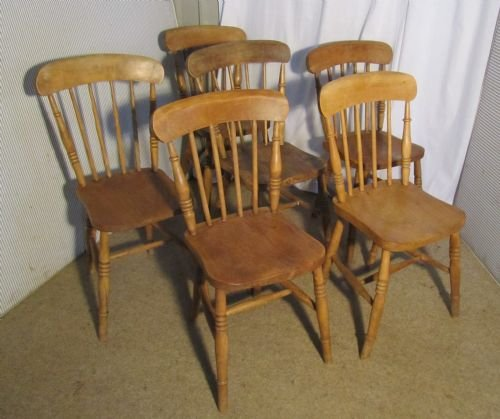 set of 6 victorian elm seated stick back kitchen dining