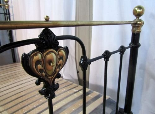 victorian art nouveau brass and iron double bed - photo angle #4