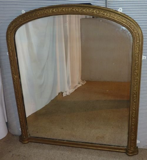 Large Victorian Gold Arched Over Mantle Mirror 161445